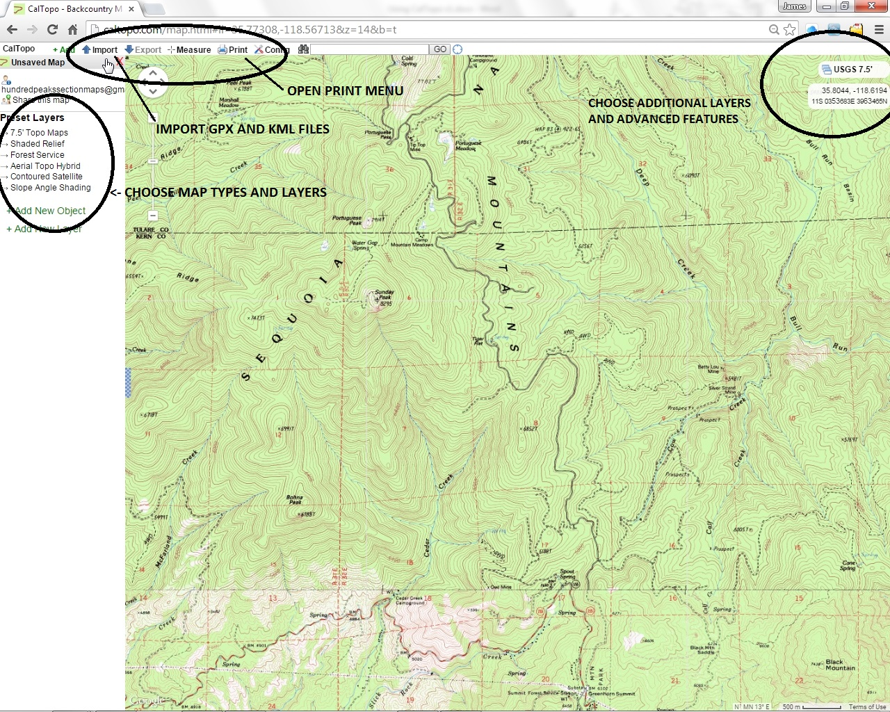 USING CALTOPO WITH HPS MAPS on