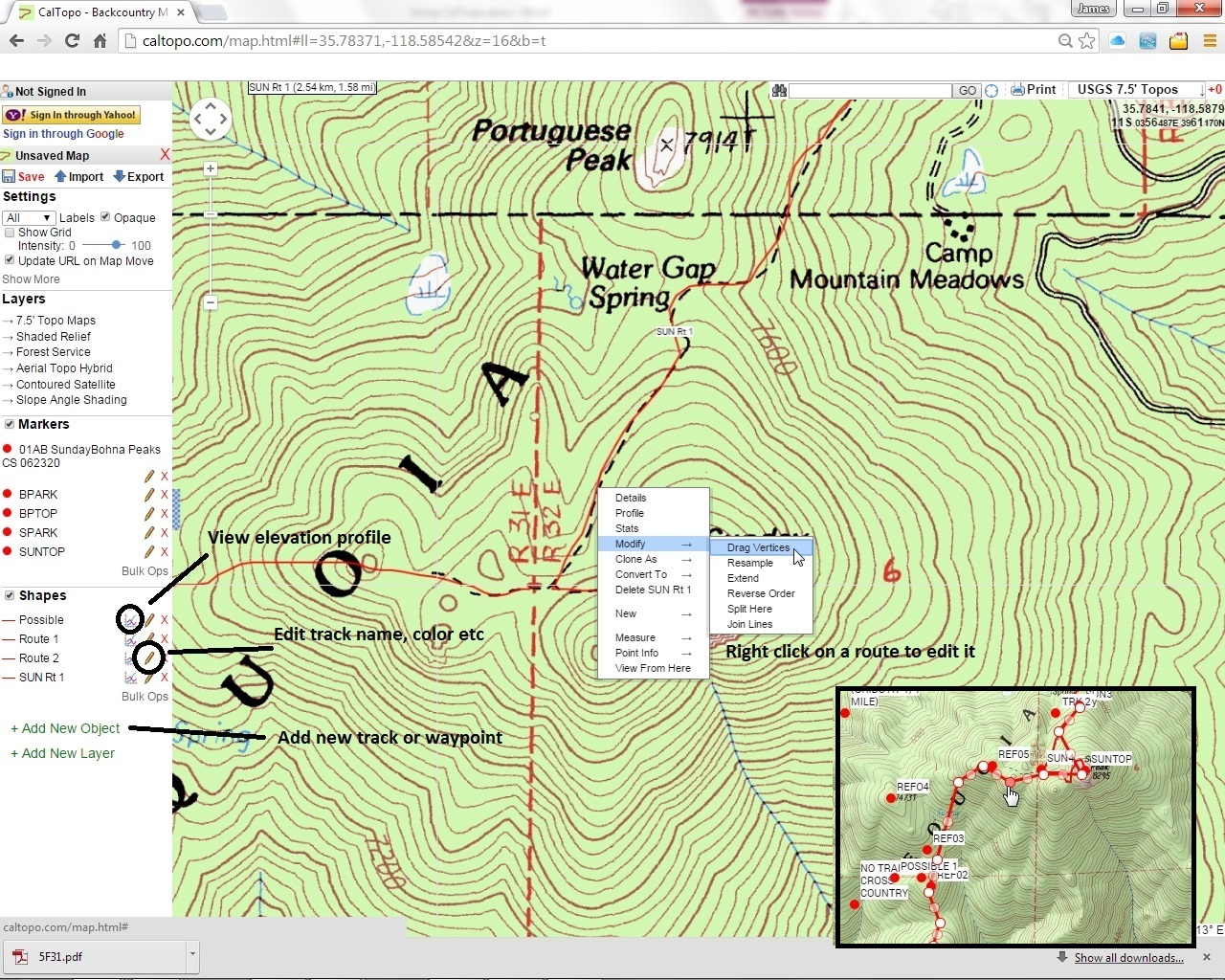 USING CALTOPO WITH HPS MAPS
