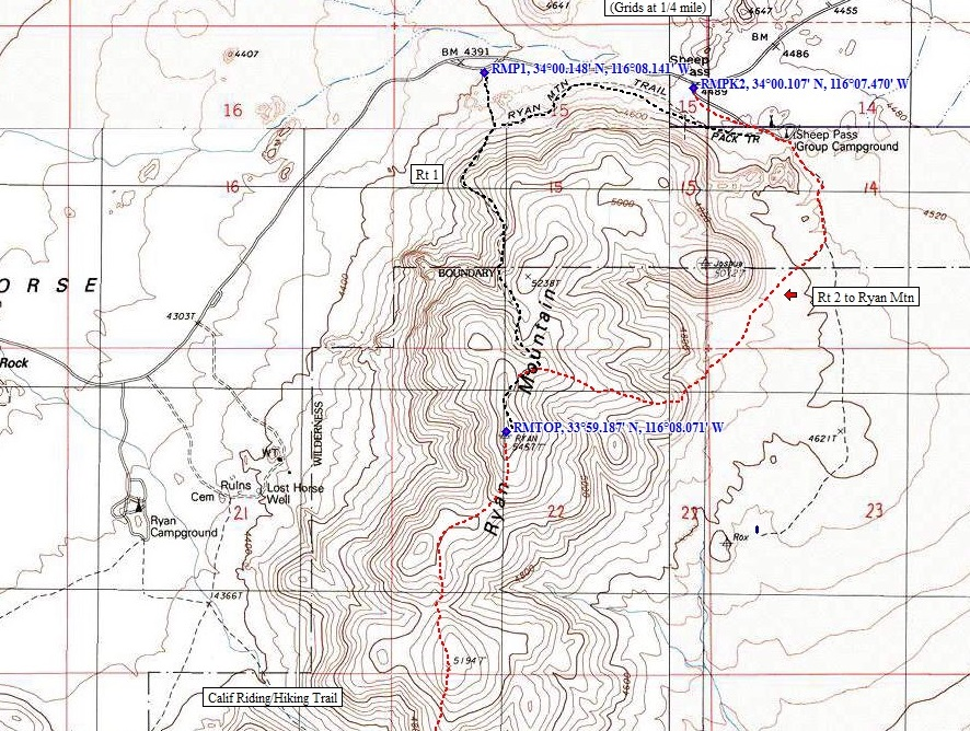 Joshua Tree Topographic Map.Ryan Mountain