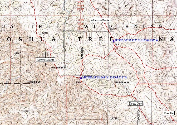 Joshua Tree Topographic Map.Bernard Peak